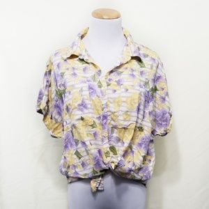 Lularoe Amy button down top floral purple yellow S